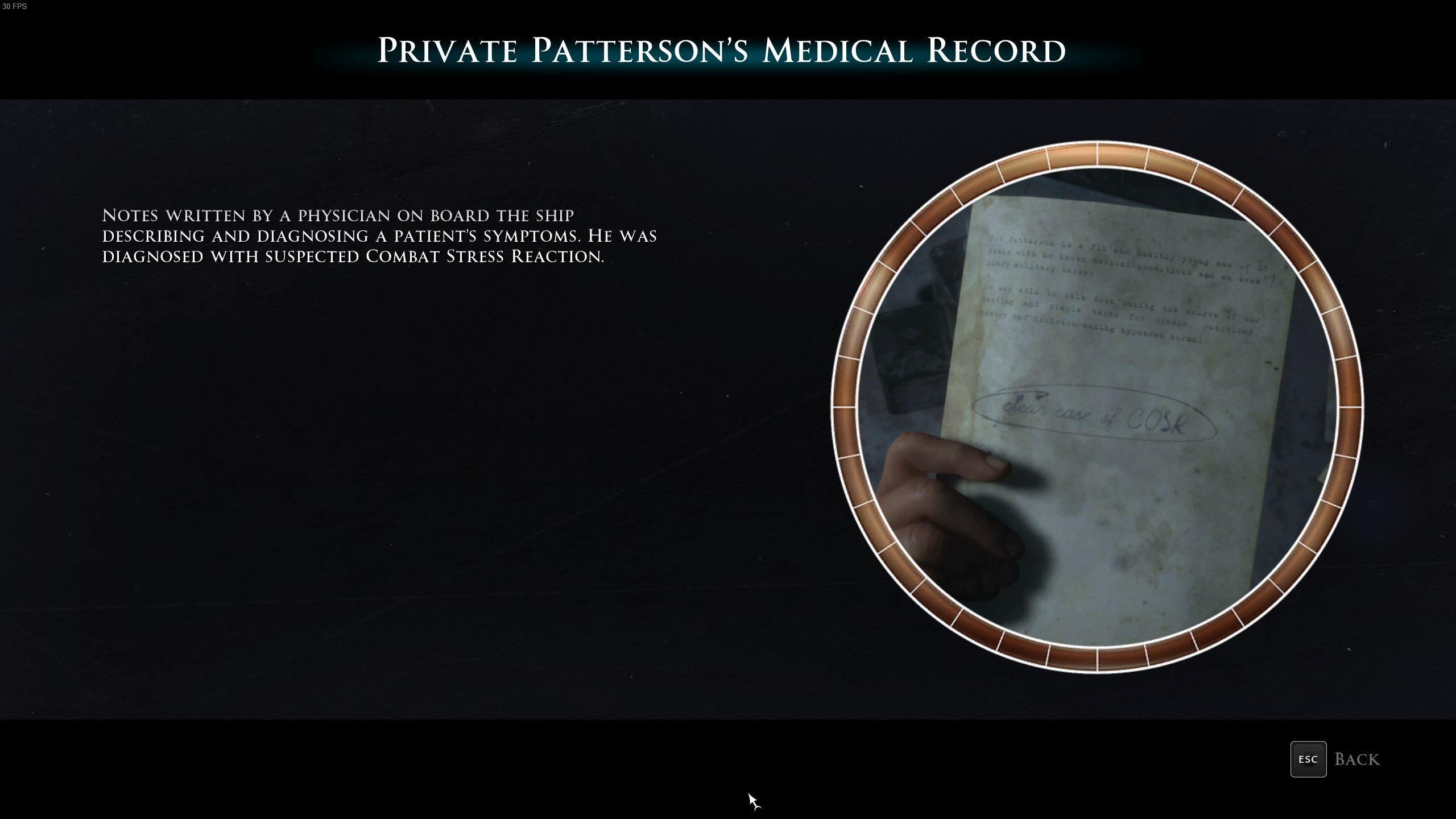 Man of Medan - Private Patterson's Medical Record