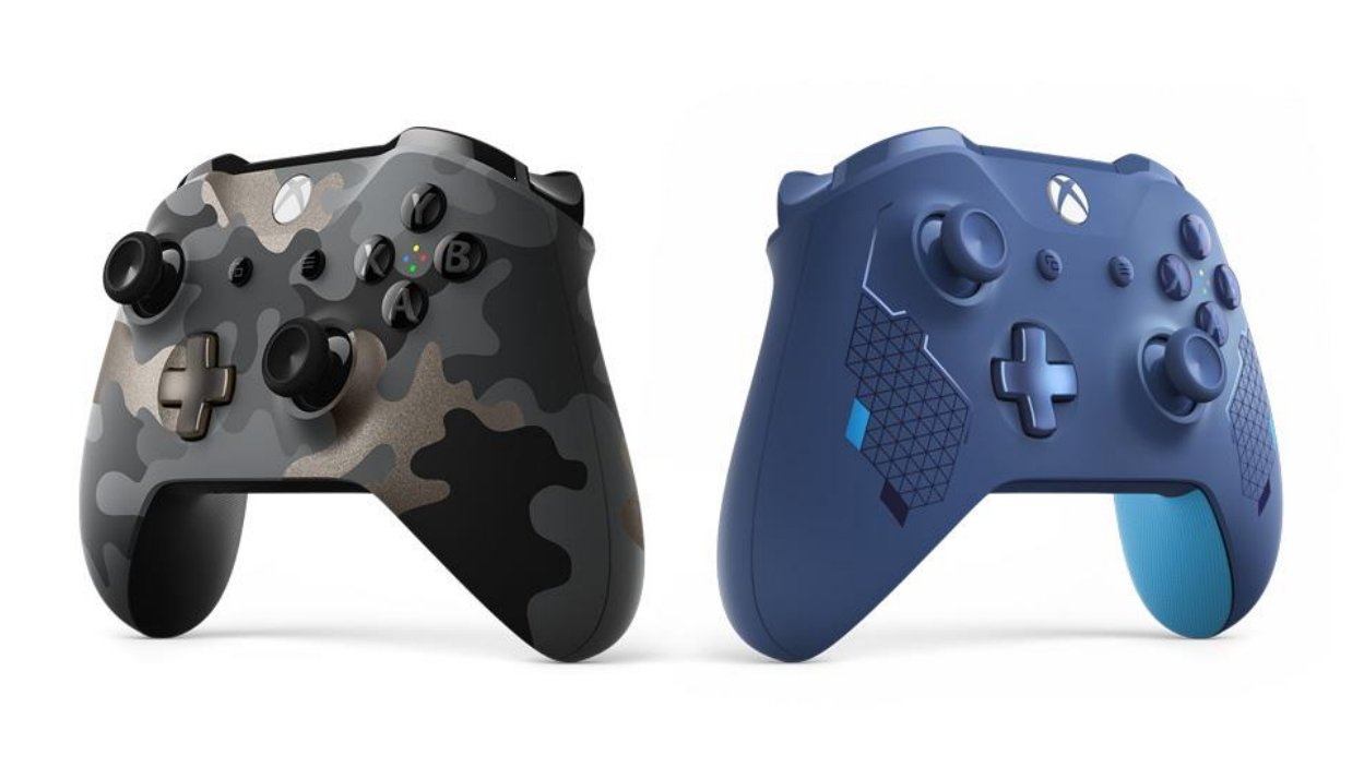 Night Ops Camo and Sports Blue Xbox controller