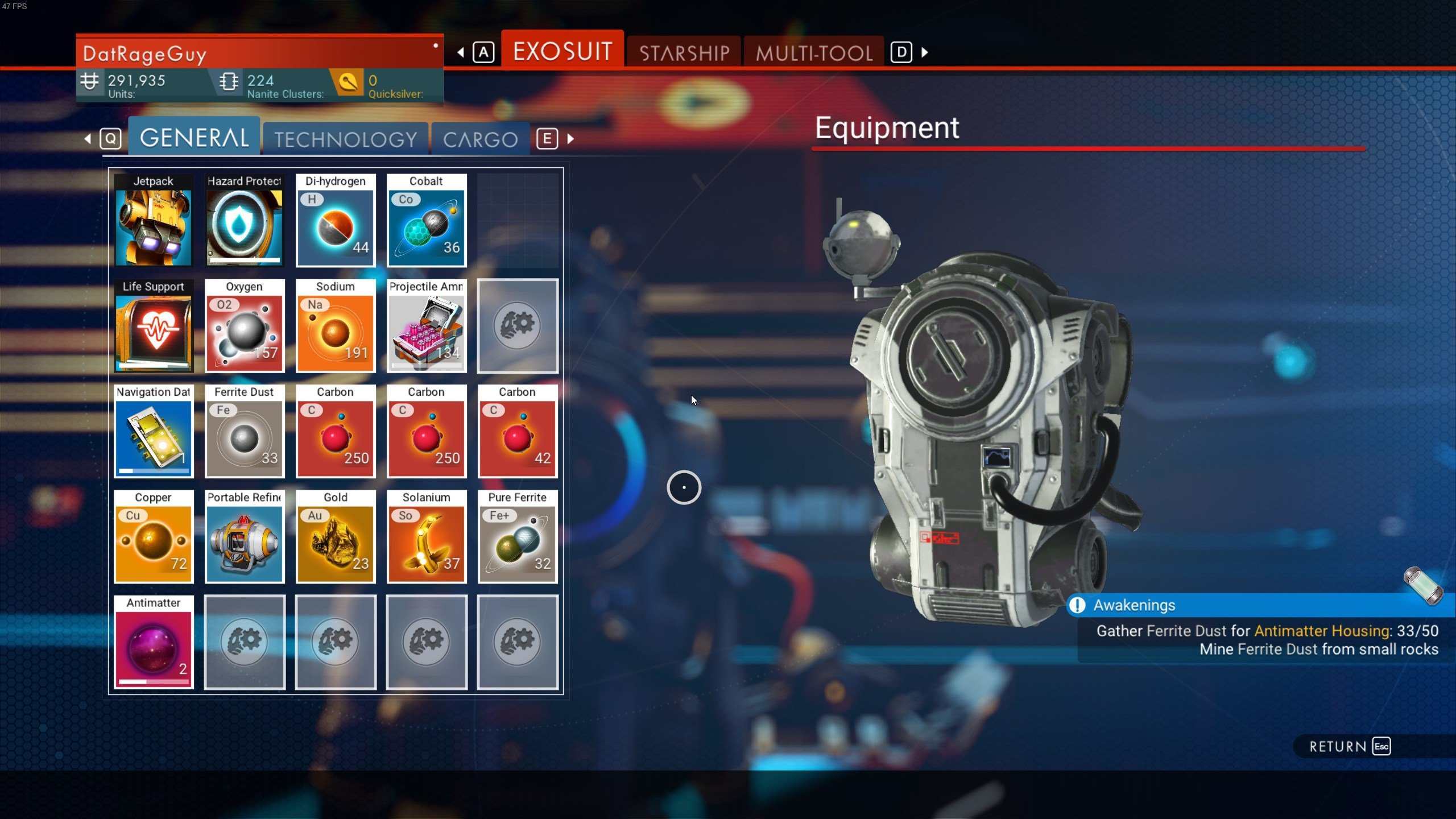 How to increase Exosuit inventory space in No Man's Sky