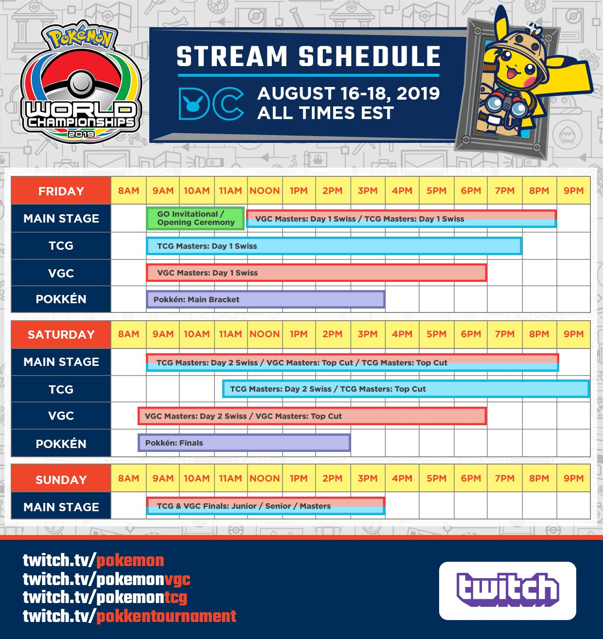 2019 Pokemon World Championships schedule