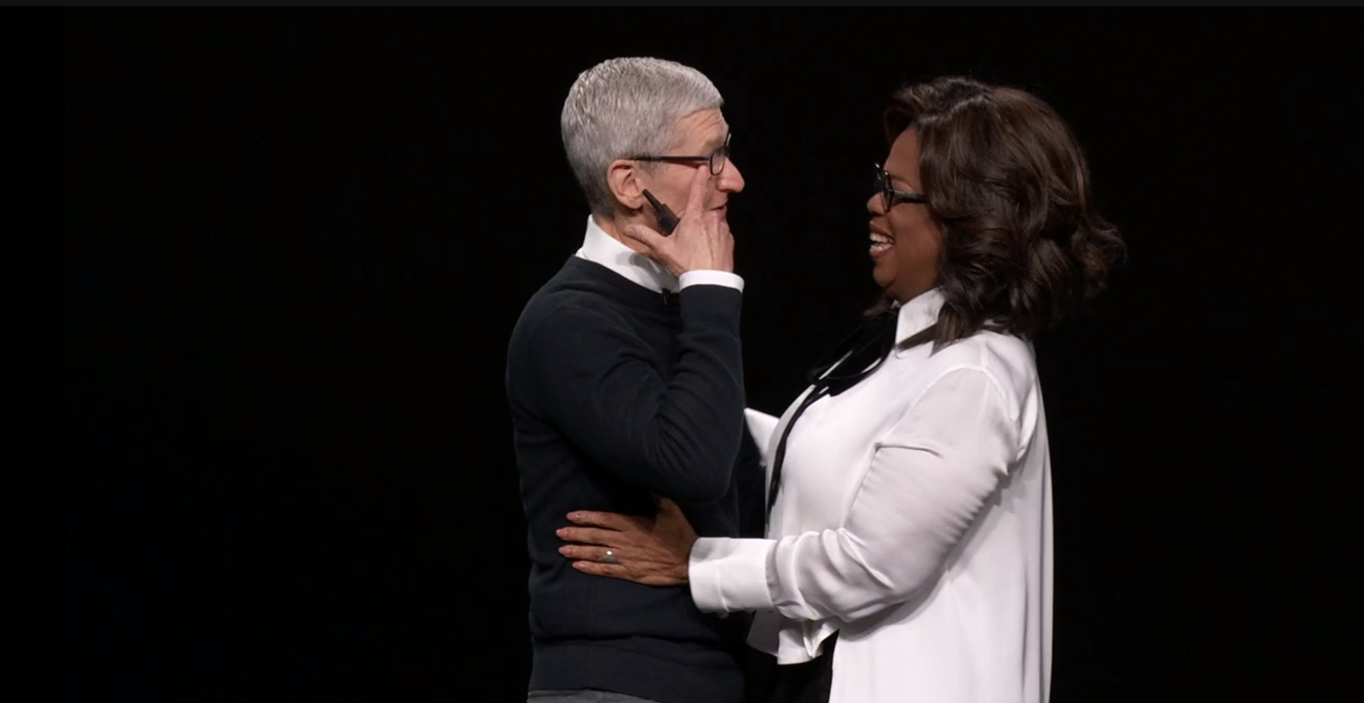 Tim Cook seen here crying about how much money he paid Oprah to be a part of the Apple TV+ platform.