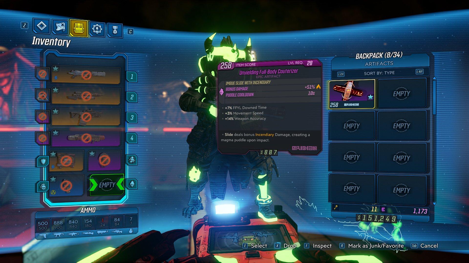 Borderlands 3 unlock artifact slot