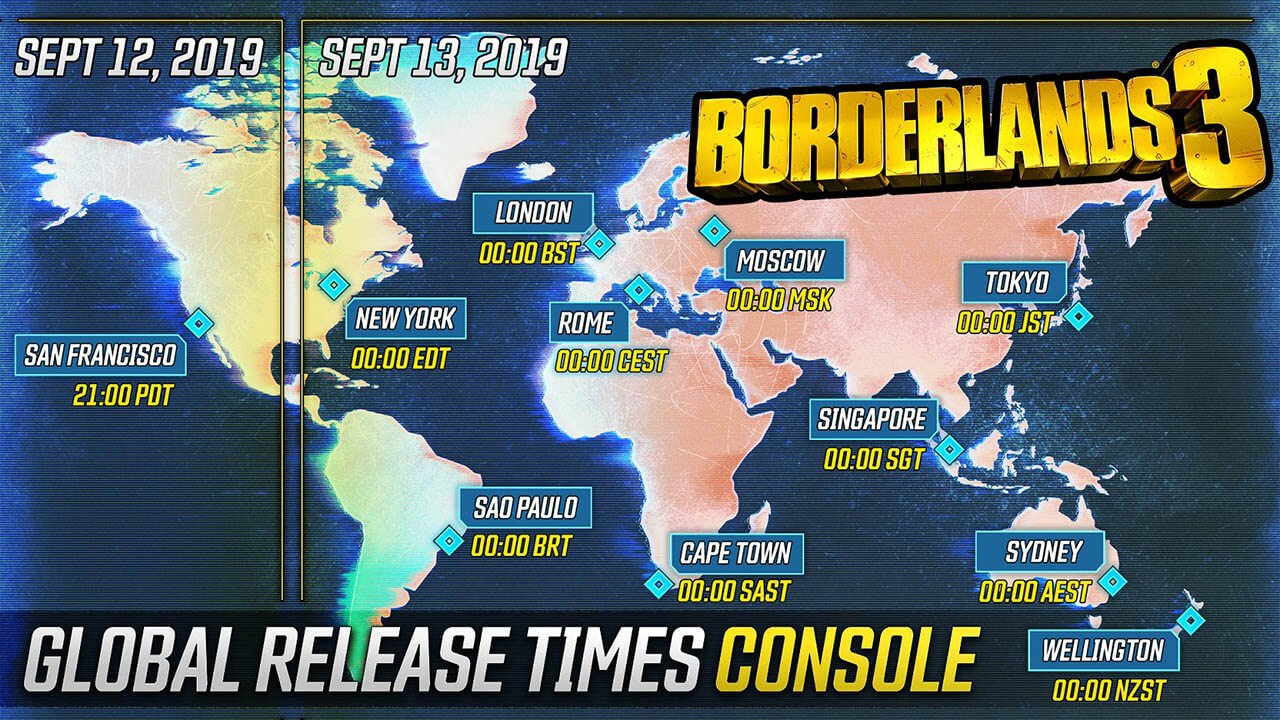 Borderlands 3 global release times on console