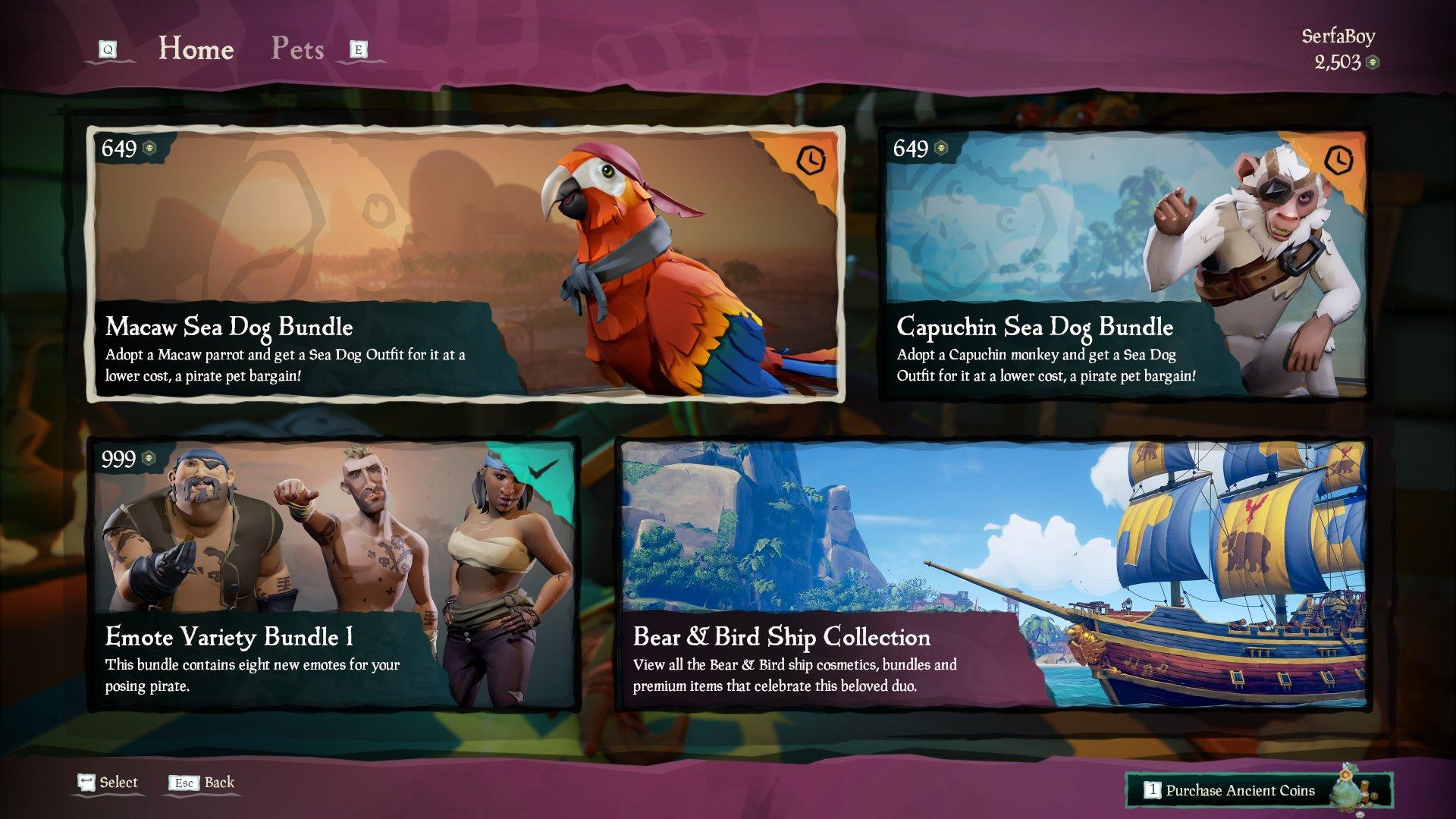 Sea of Thieves Pirate Emporium Stock