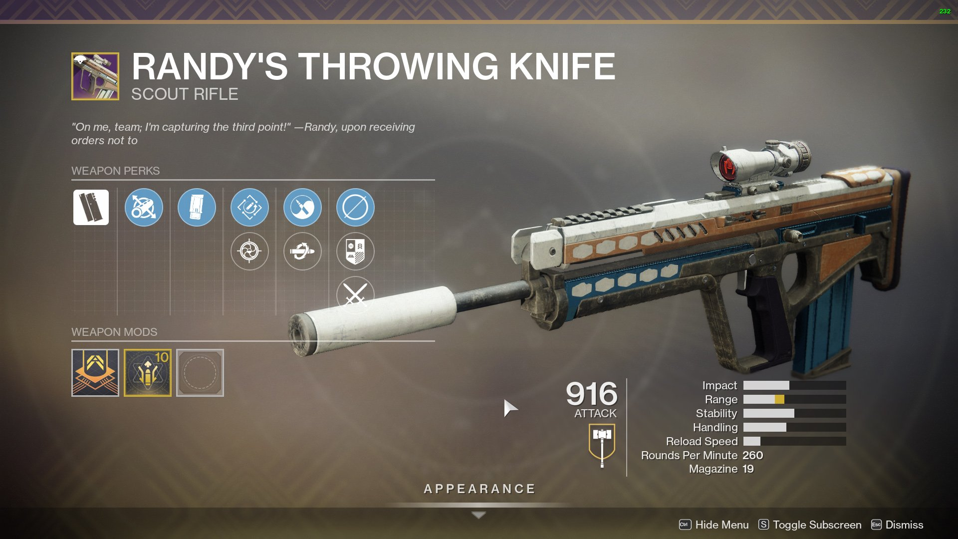Destiny 2 Randy's Throwing Knife