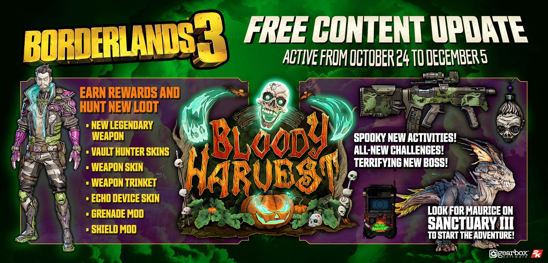 Borderlands 3 halloween event start date and time