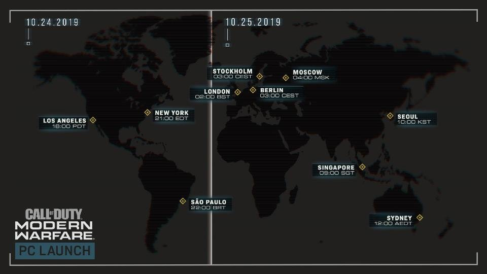 PC launch times for Modern Warfare