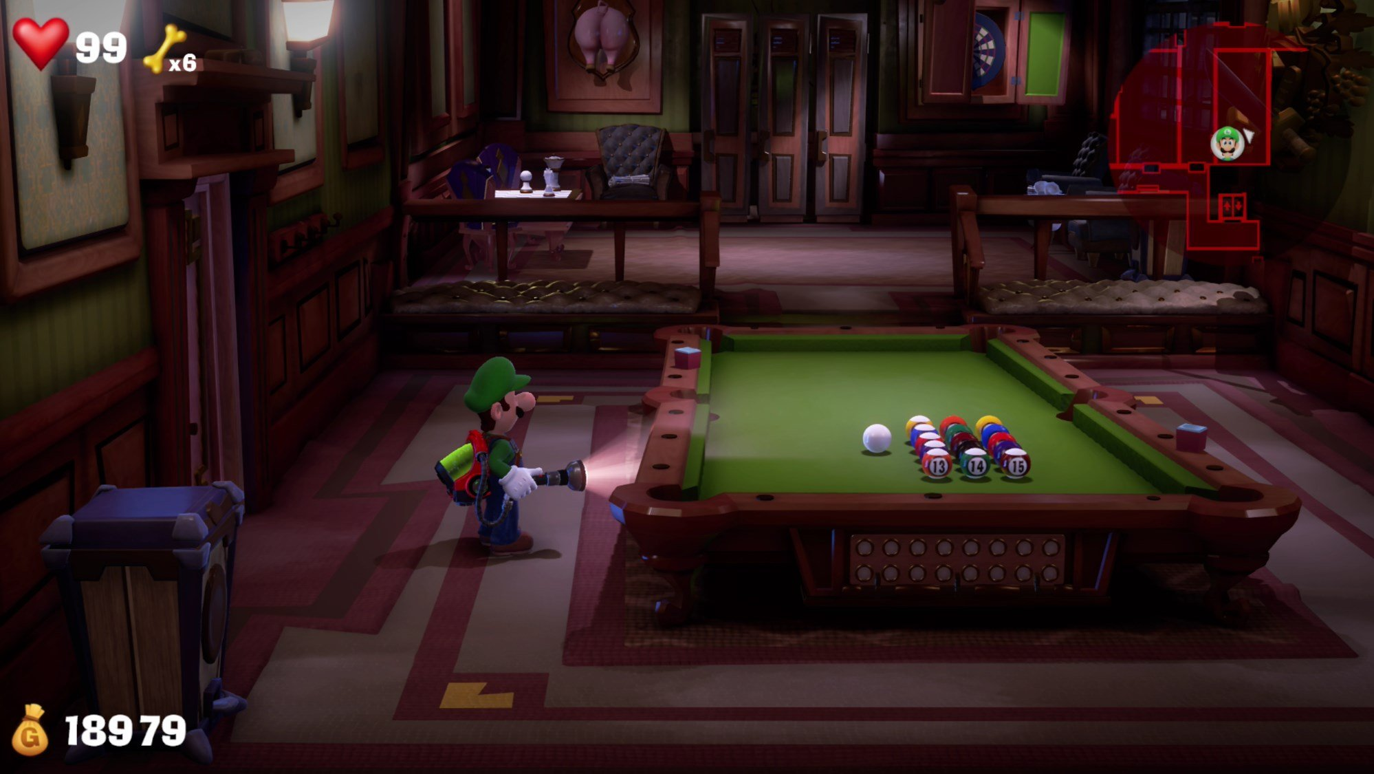 How to clear the billiards table on 2F in Luigi's Mansion 3