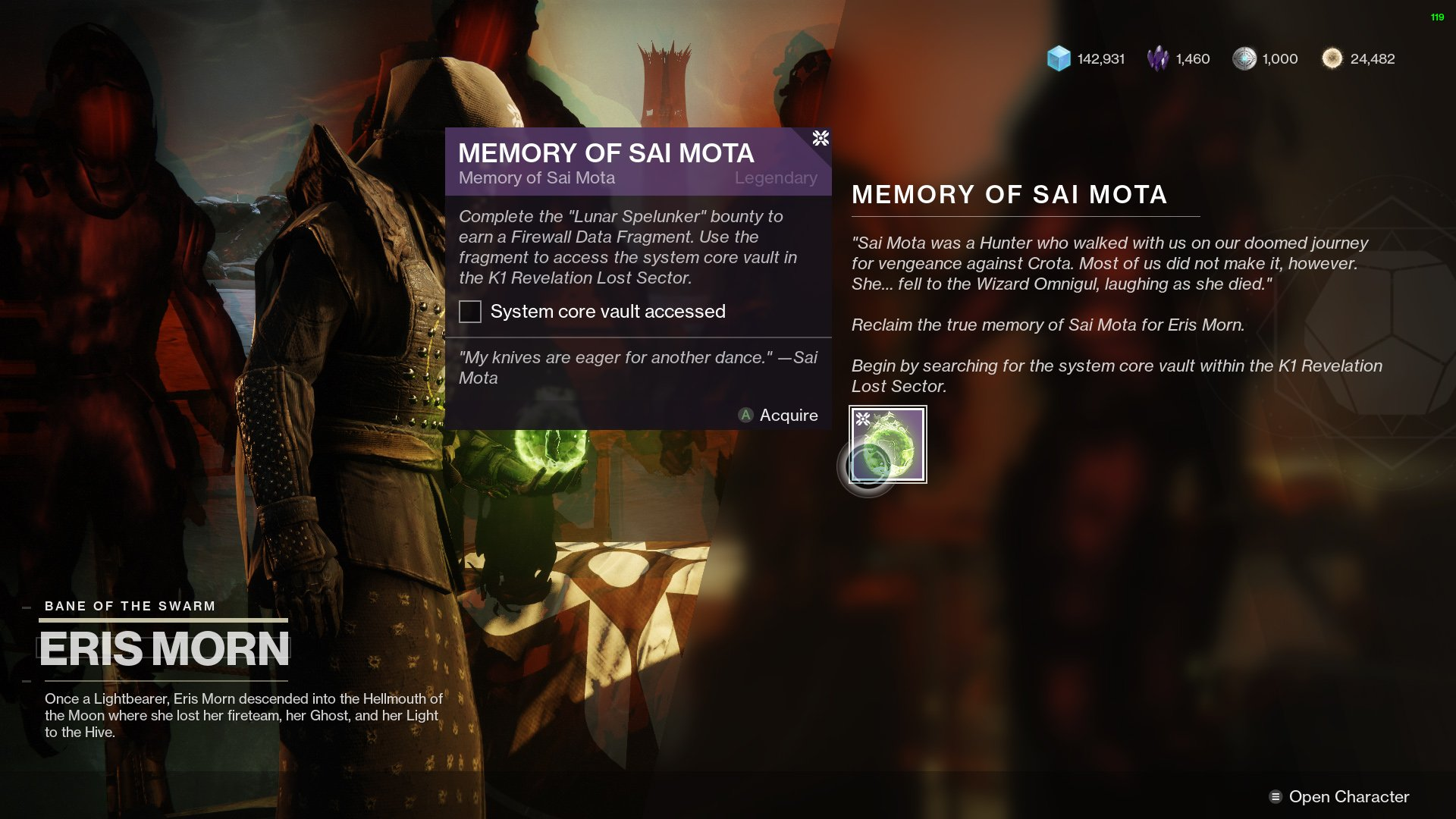 Destiny 2 Memory of Sai Mota