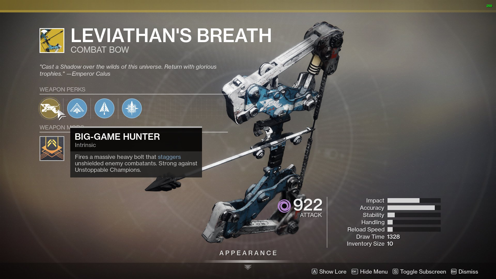 Destiny 2 Leviathan's Breath perks
