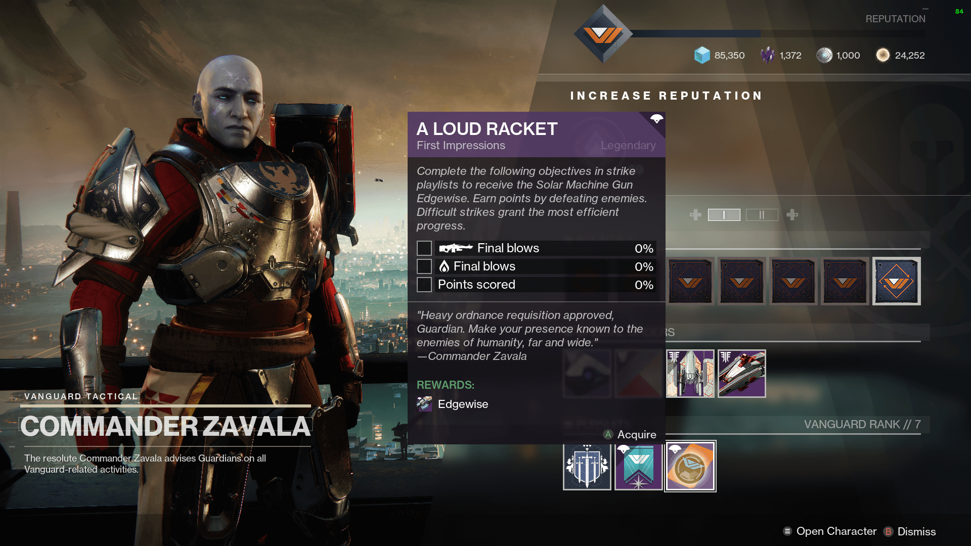 Destiny 2 - A Loud Racket quest from Commander Zavala