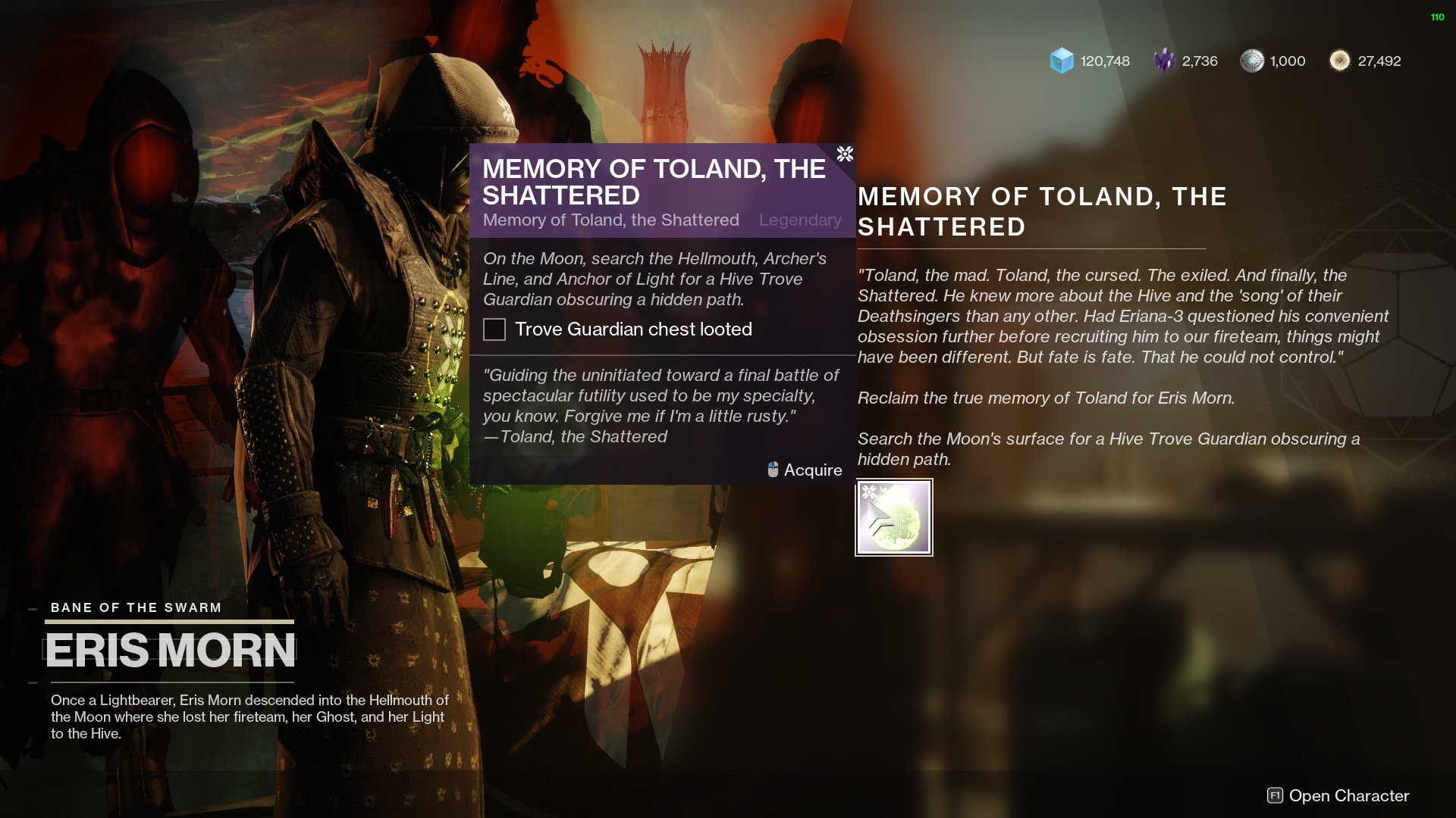 Destiny 2 Memory of Toland the Shattered