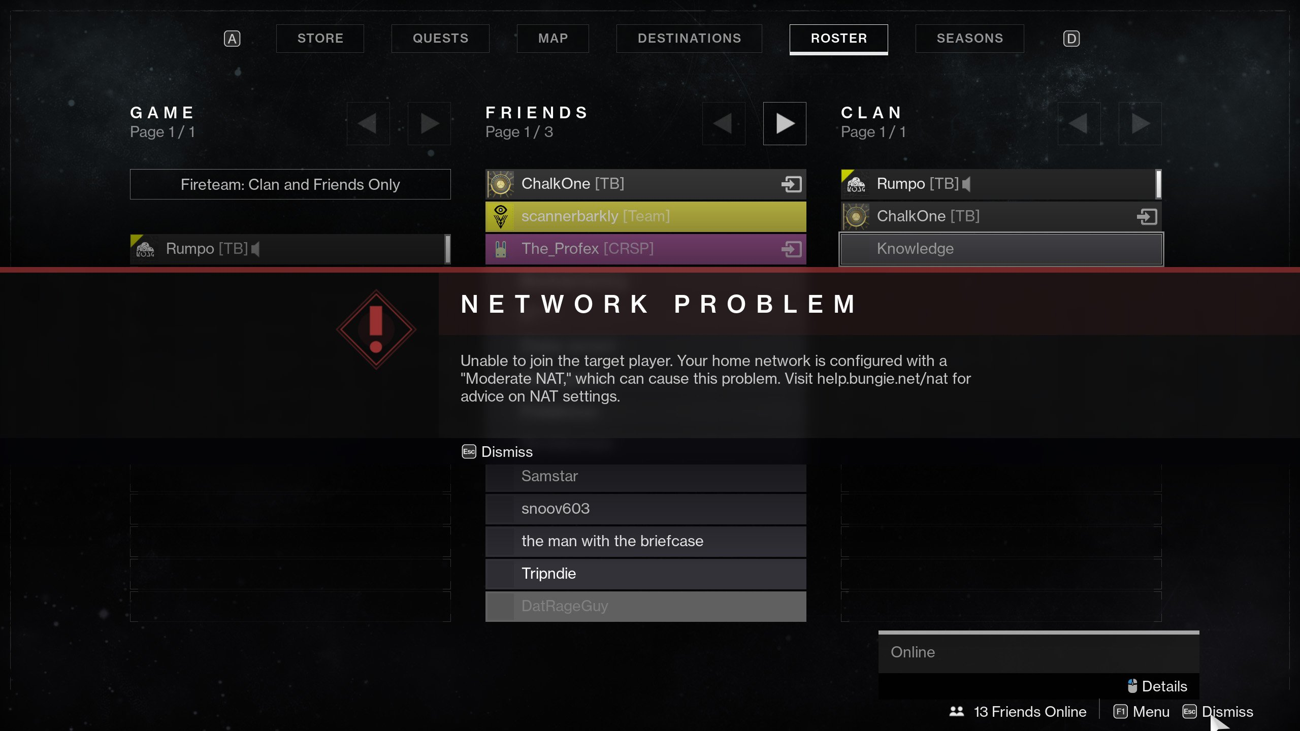 Unable to join target player, how to change Nat Type - Destiny 2