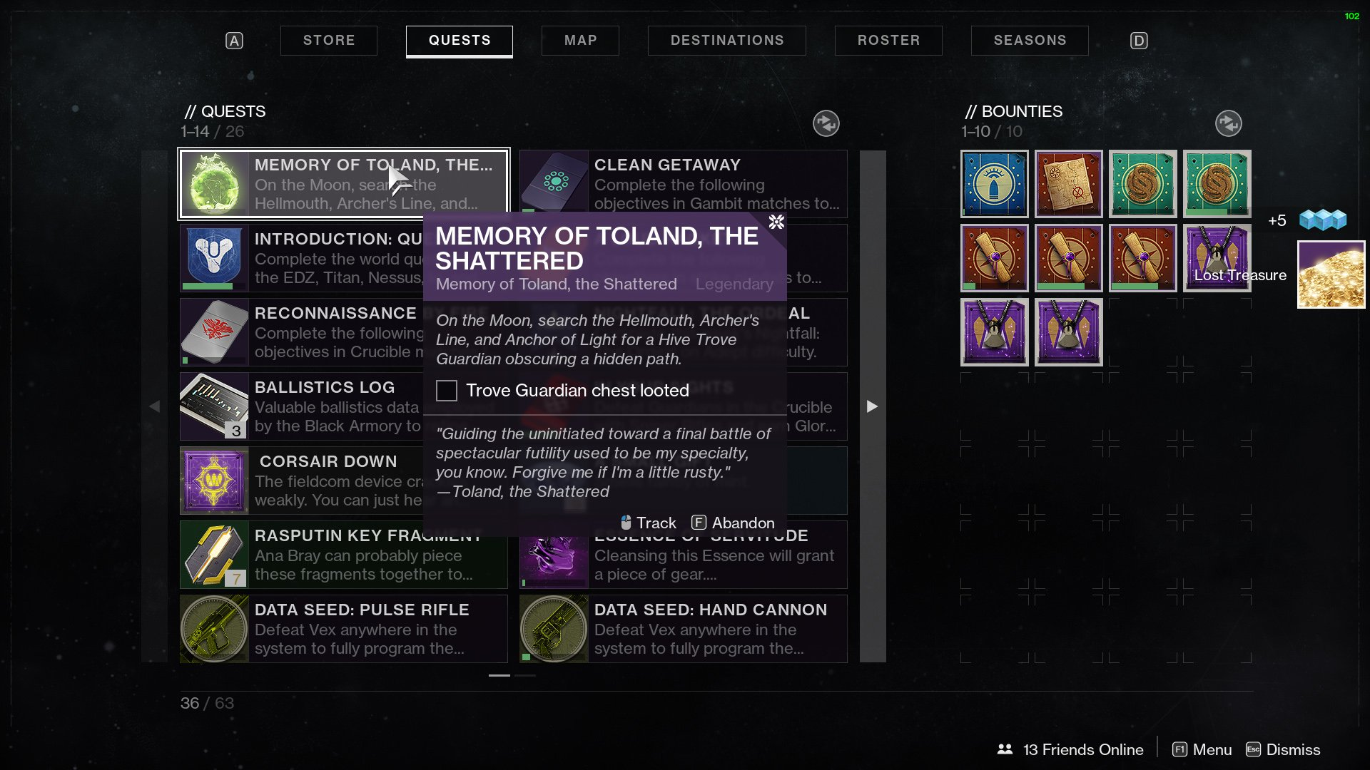 Destiny 2 Toland the Shattered Trove Guardian