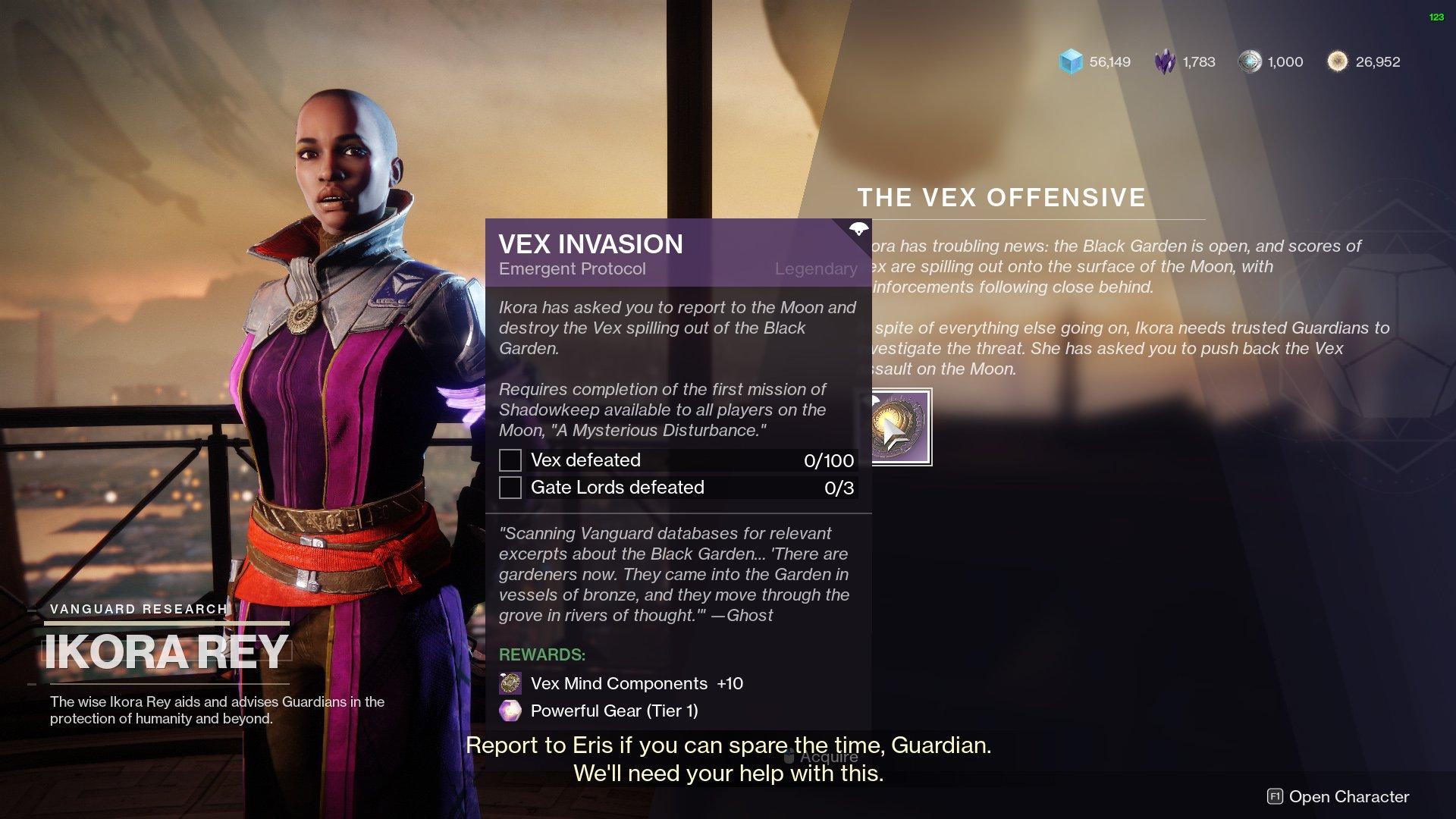 Destiny 2 Vex Invasion quest Ikora
