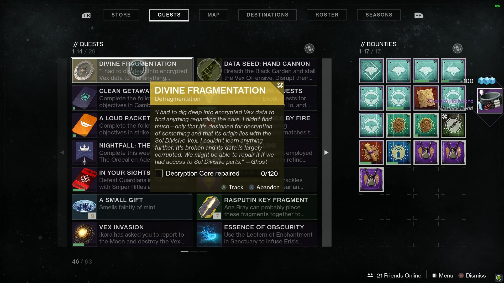 Defragmentation repair core Destiny 2
