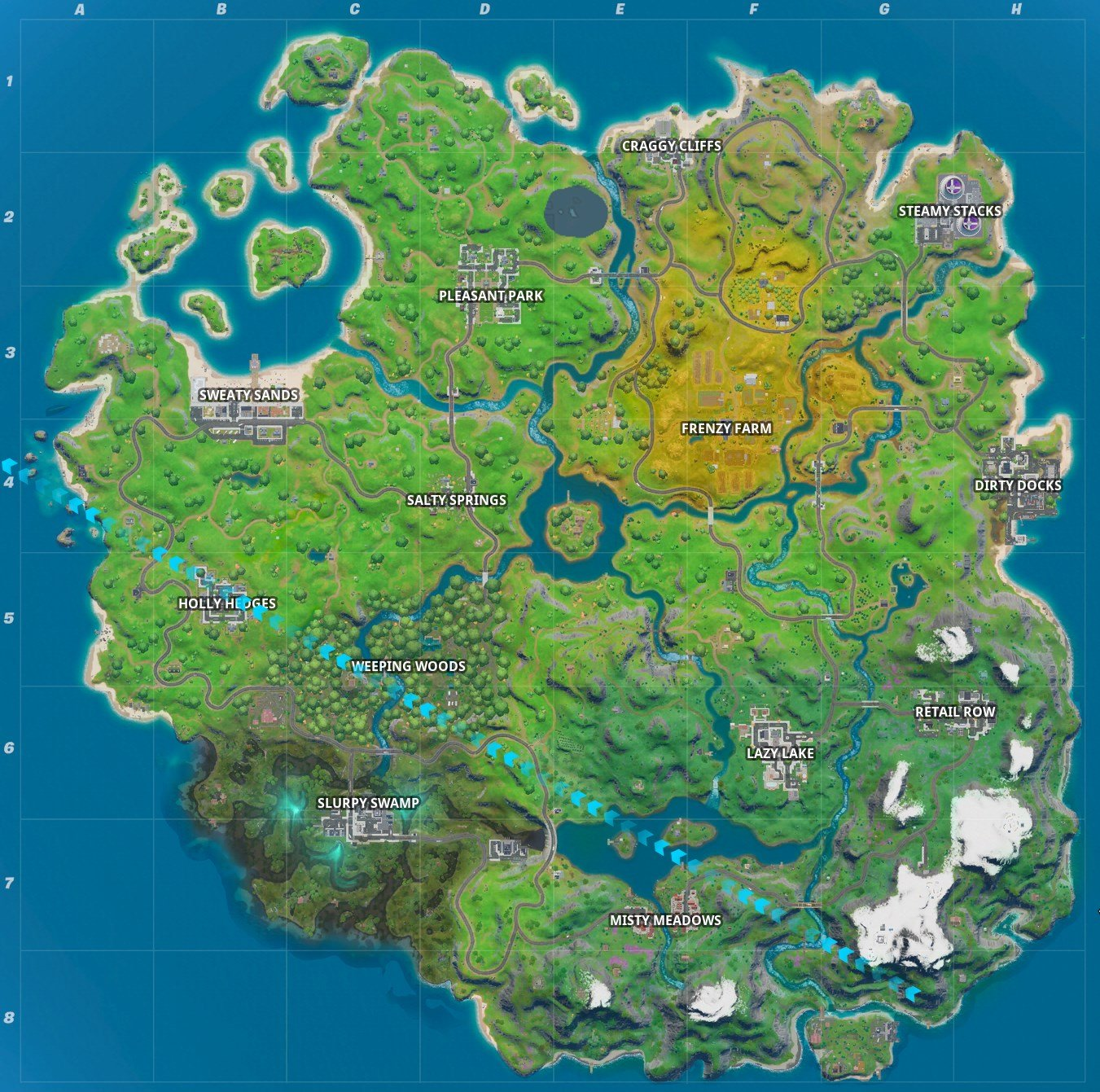 Fortnite Chapter 2 map locations