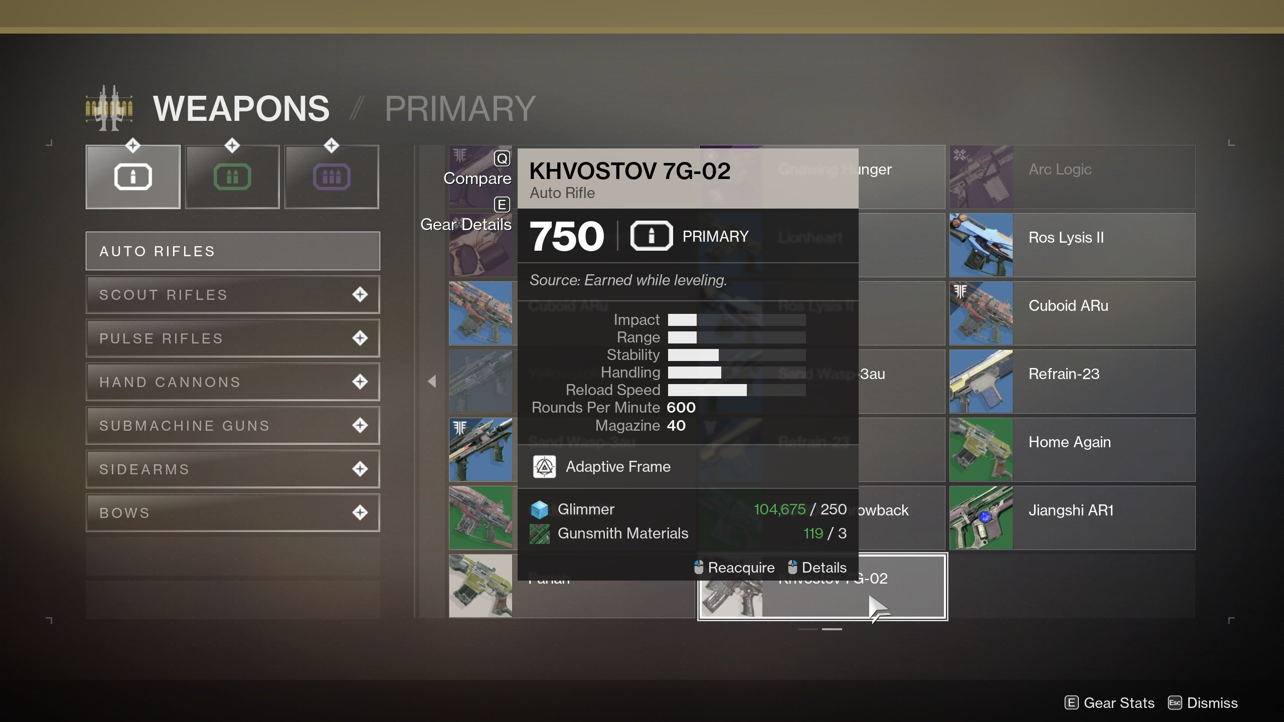 How to get the Khvostov 7G-02 in Destiny 2 - From Collections