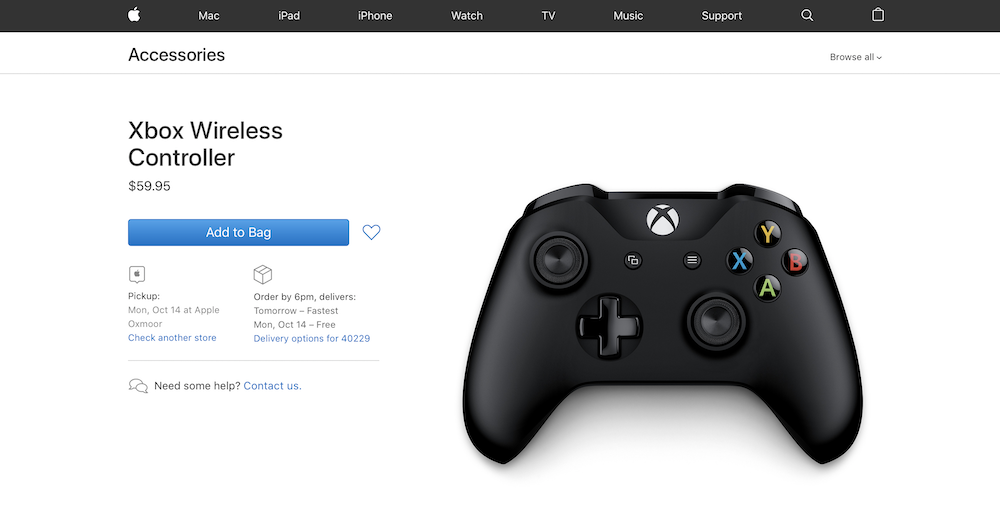 A controller for sale via the Apple Store.