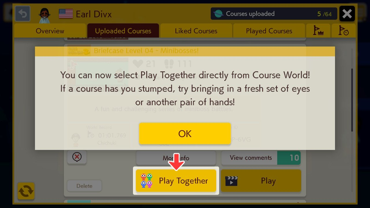 Super Mario Maker 2 version 1.1.0 update adds Play with Friends and Play Together options for local and online co-op gameplay.