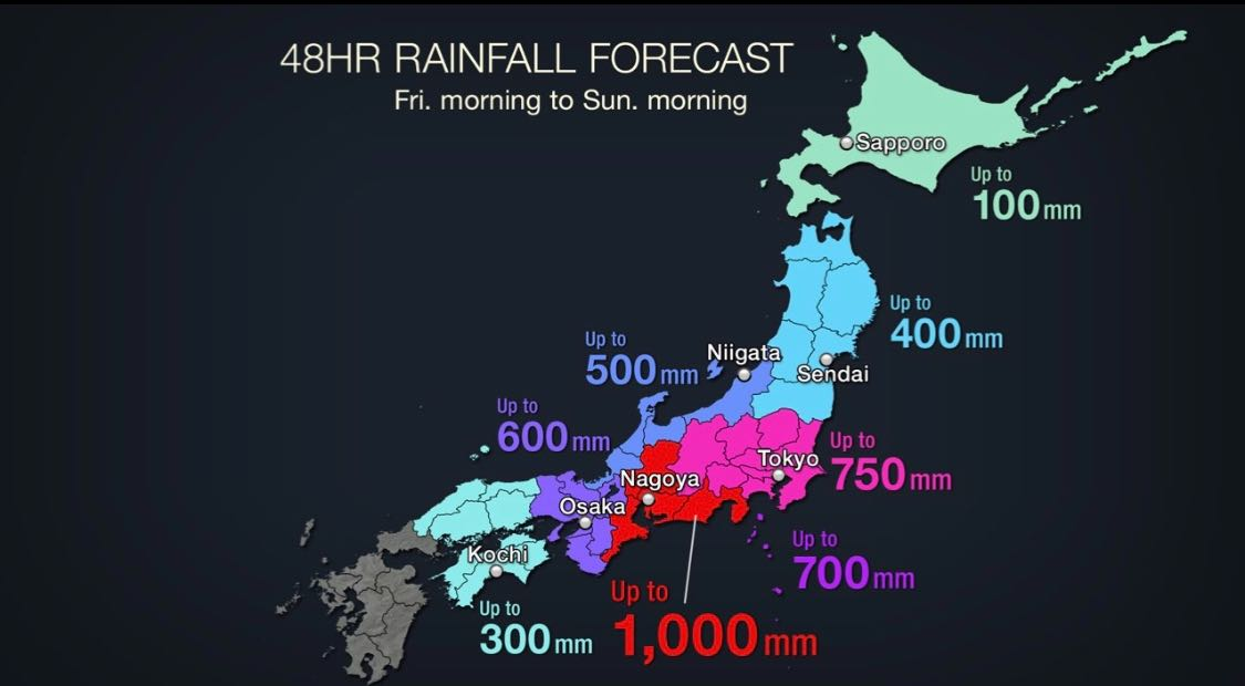 Super Typhoon Hagibis is predicted to bring a lot of rainfall.