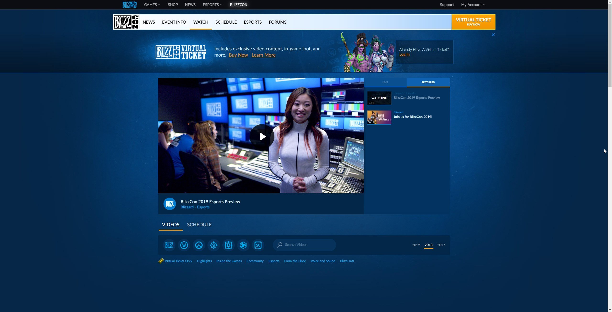 Head to the watch tab on Blizzcon.com for livestreams, videos, and more.