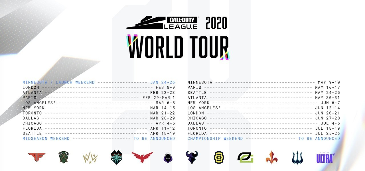 Each event will be played over the course of a weekend in each location for the entirety of the 2020 Call of Duty season.