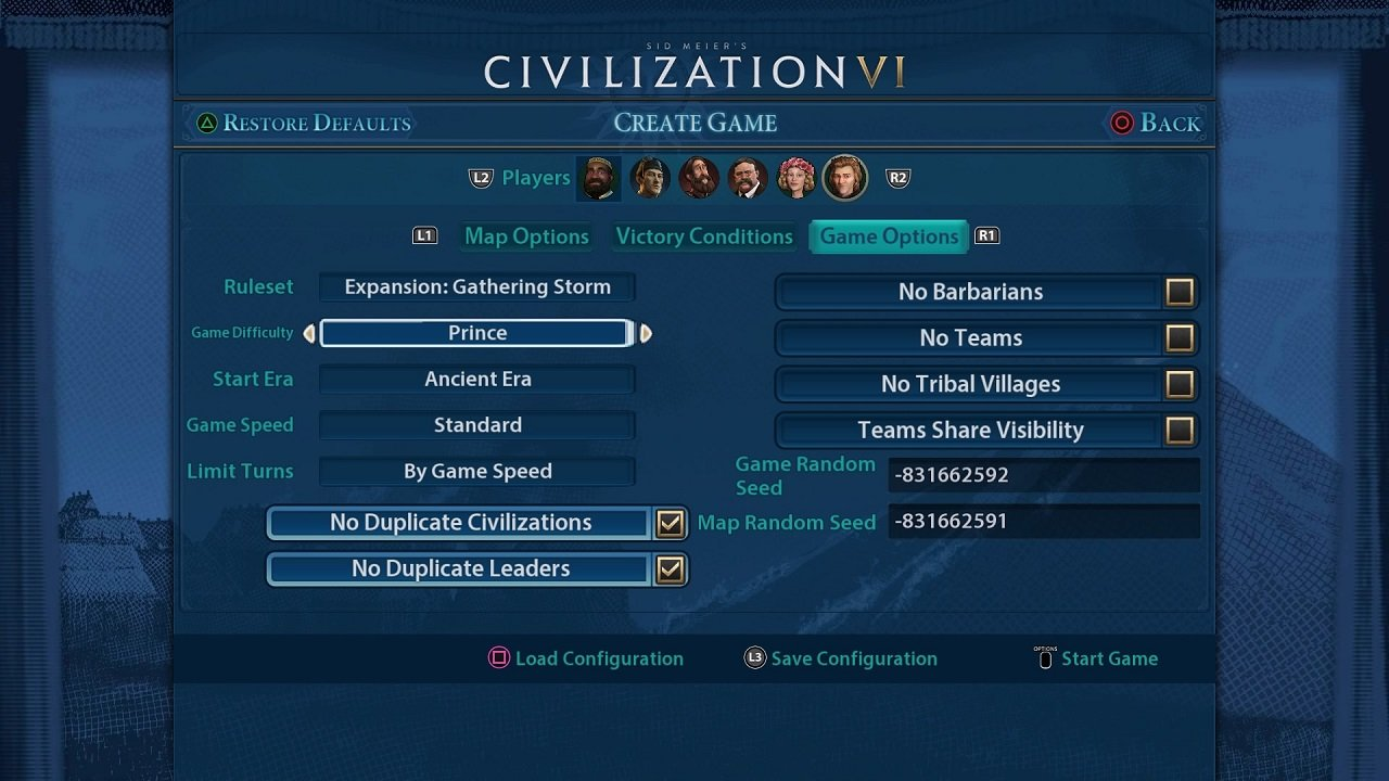 You can be as specific as ever in how you want your Civilization 6 game to be on the PS4 version.