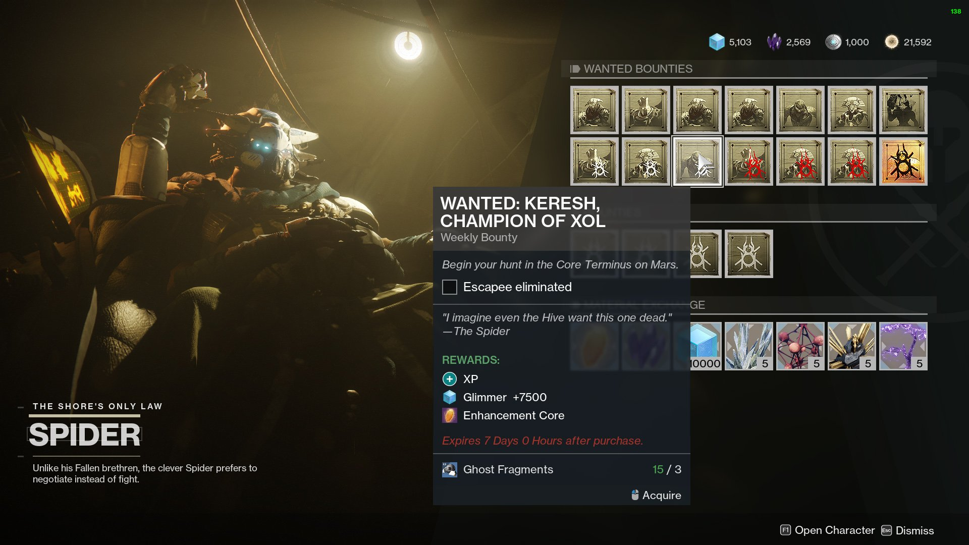 Destiny 2 Enhancement Core Spider Wanted Bounty