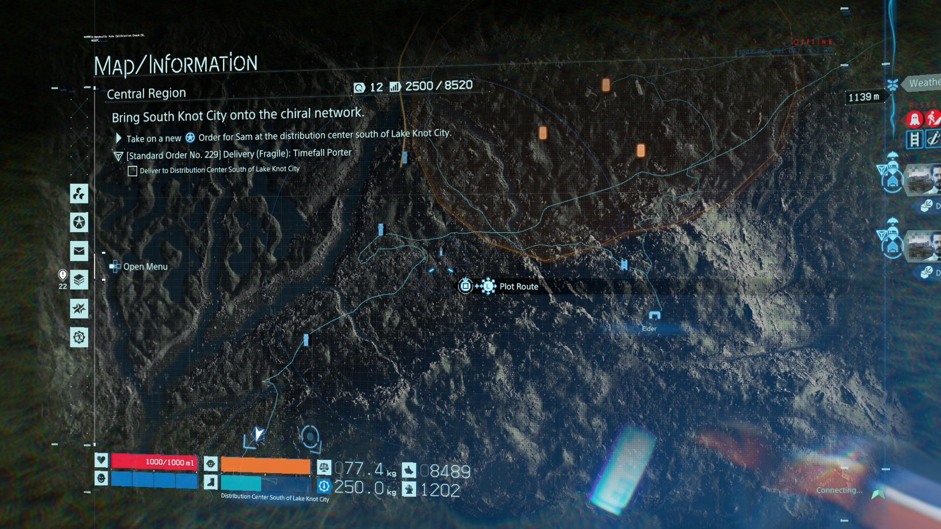 plot routes on map in Death Stranding