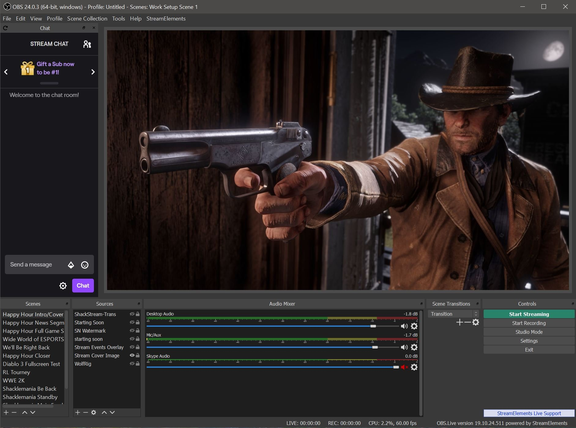 The main OBS Studio window will allow you to set up and preview your game capture.