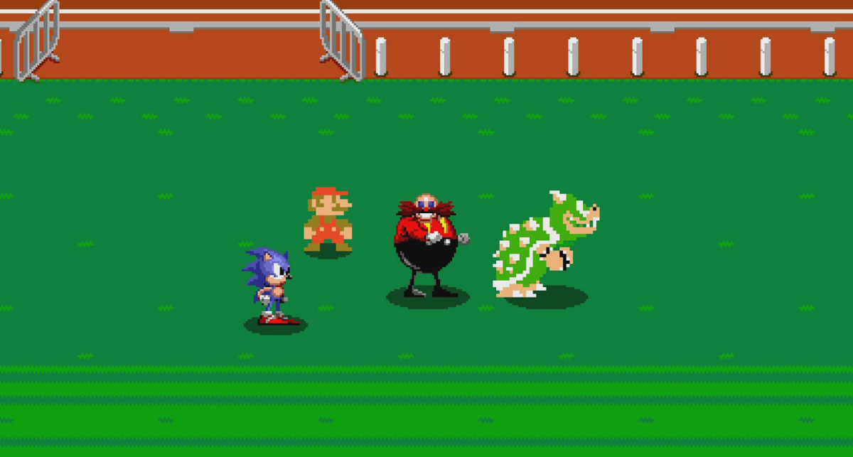 Bowser, Mario, Sonic, and Eggman are all transported back to 1964 by a handheld video game system.