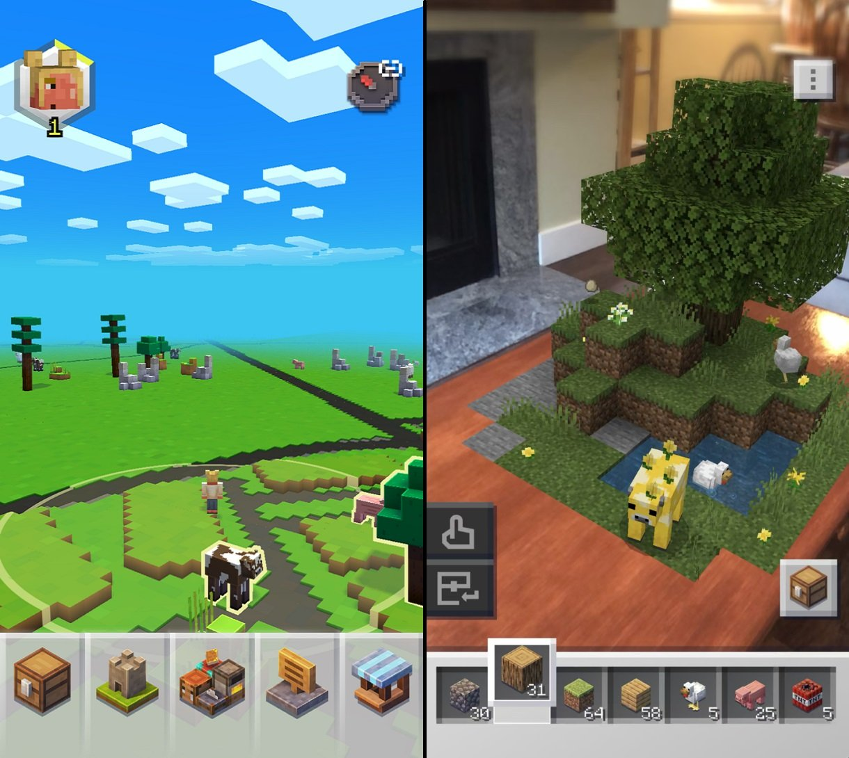 Minecraft Earth's core gameplay seems to blend aspects of Pokemon GO world play and original Minecraft building with AR technology.