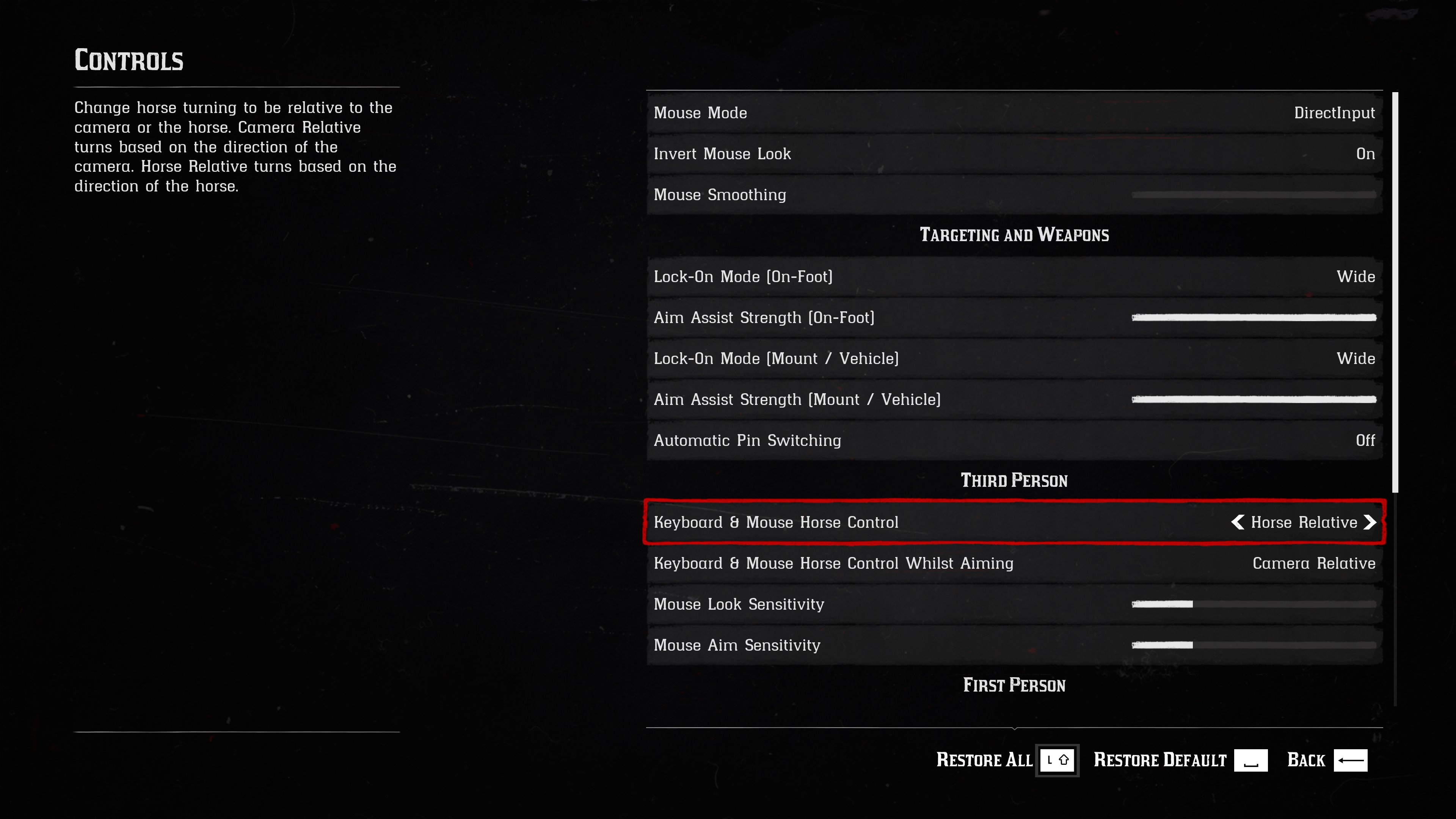 keyboard and mouse settings page will allow you to fix horse controls