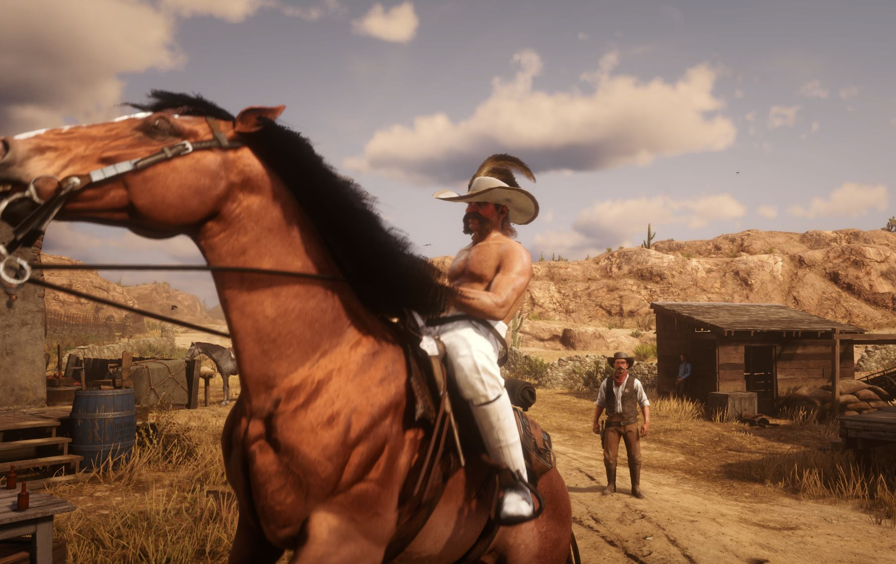 Enabling Motion Blur allows for object-based blur to be shown. Notice the blur on the bridle as the horse jerks around.