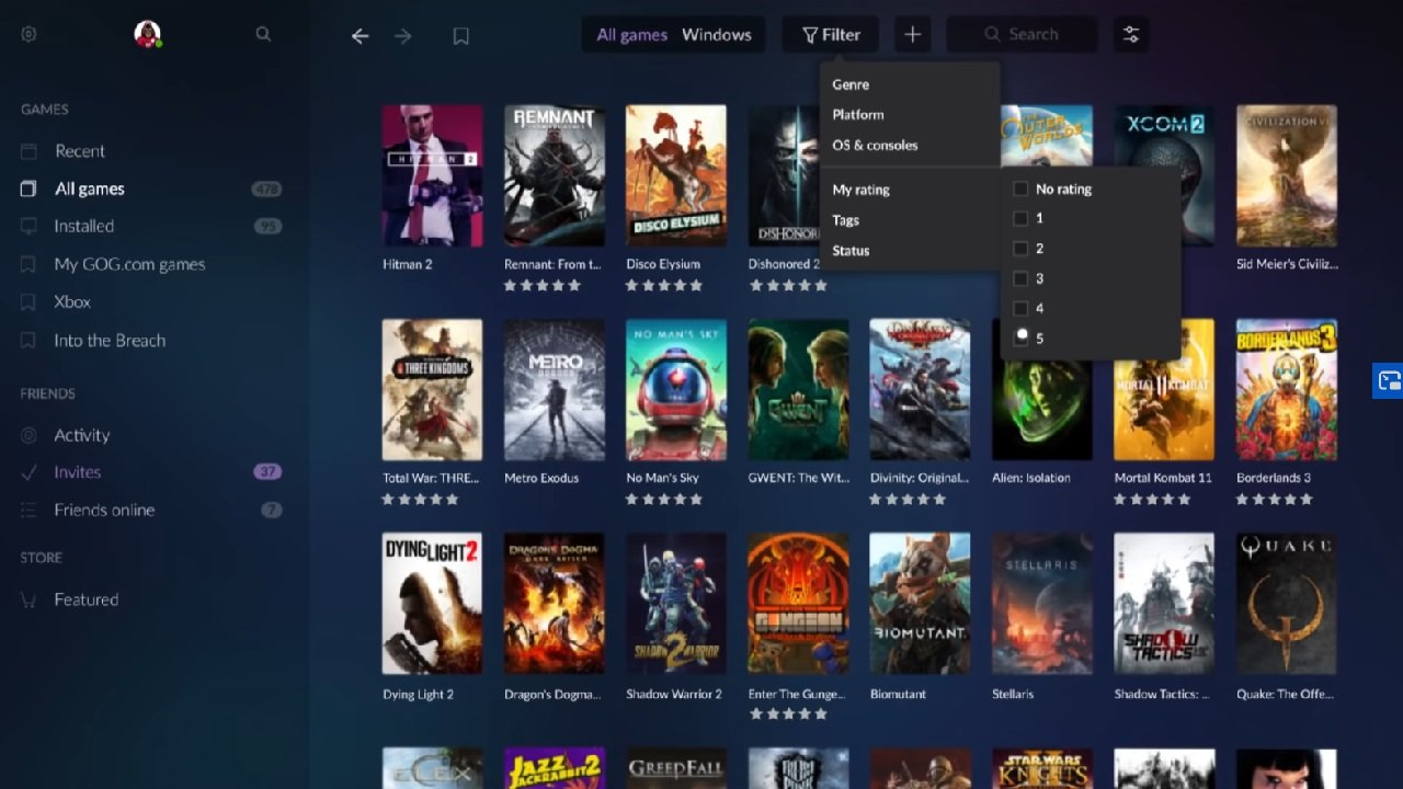 GOG Galaxy 2.0 features a number of filter options from which you can organize and sift through your games libraries on all launchers.