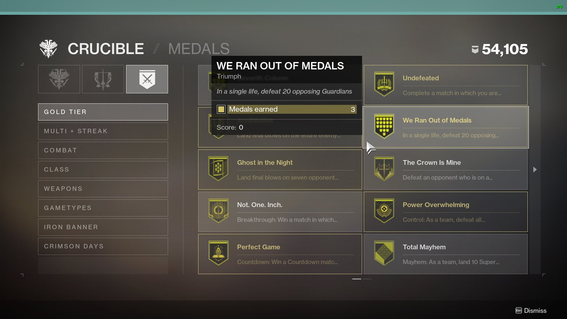 Destiny 2 easiest pvp Crucible medals