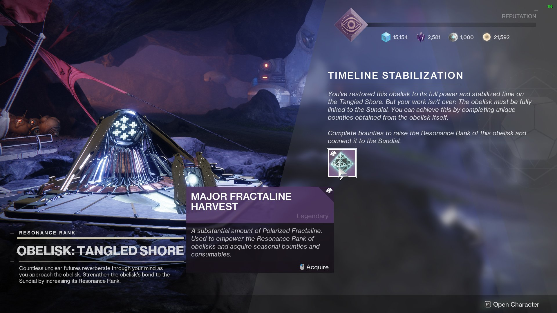 Destiny 2 Tangled Shore obelisk timeline stabilization