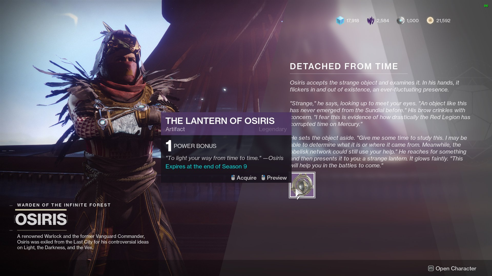 destiny 2 seasonal artifact season of dawn lantern of osiris
