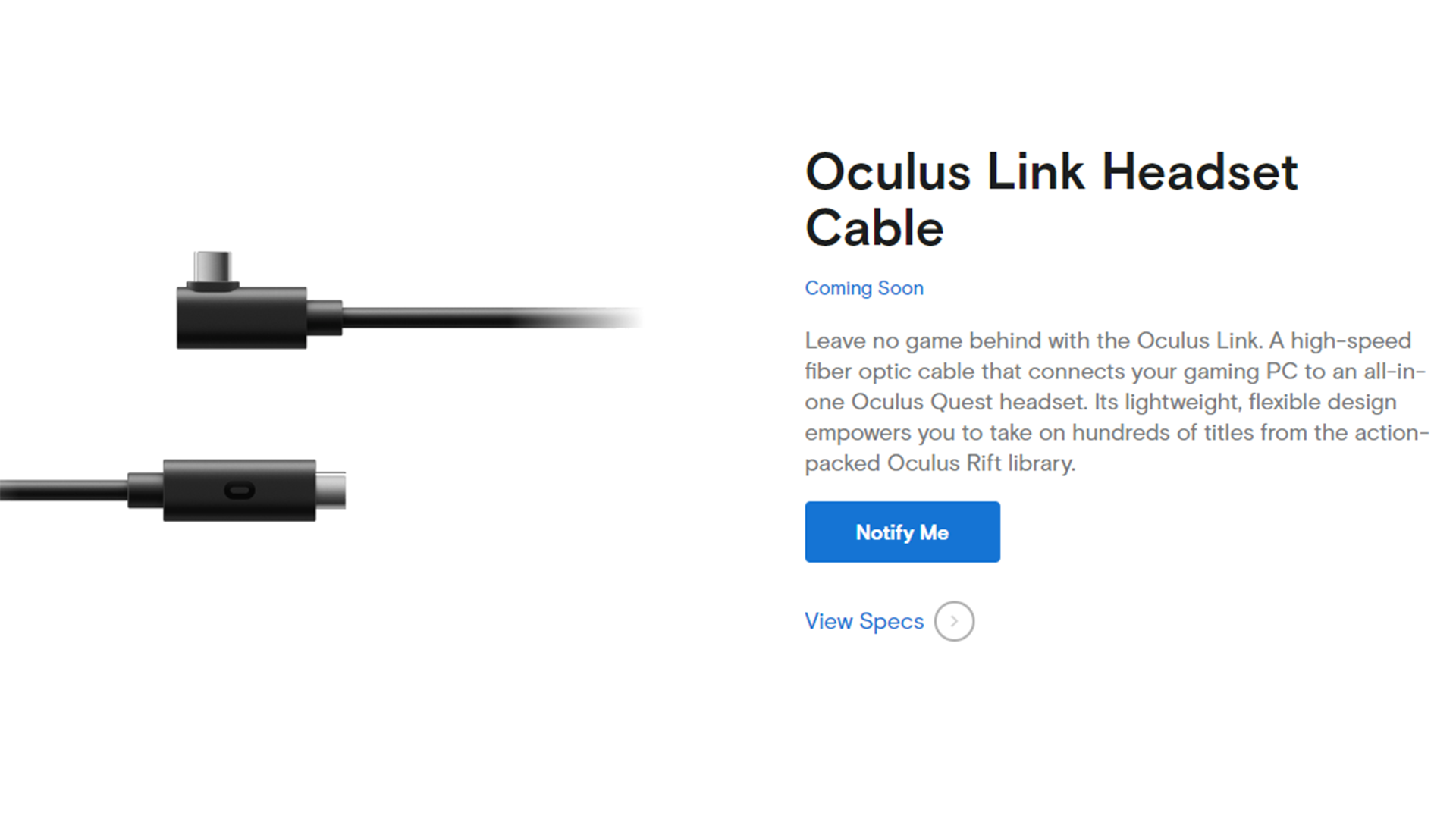 Holiday VR gift guide 2019 - Oculus Link Headset Cable