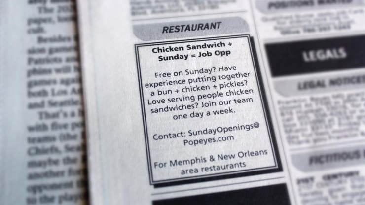 This add was seen in the Miami Herald. Chick-fil-A is famously closed on Sundays.