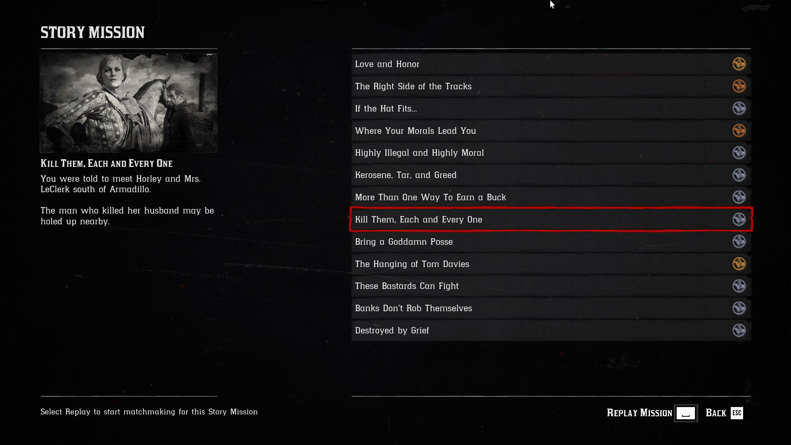 Story Missions list in Red Dead Online - Make Gold quickly