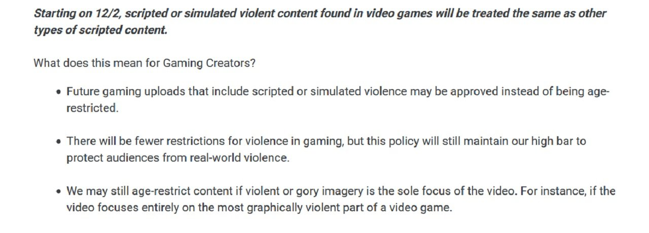 YouTube Gaming's new rules should bring consistency to the rules that determine the presence of violence in gaming, movie, and TV videos.