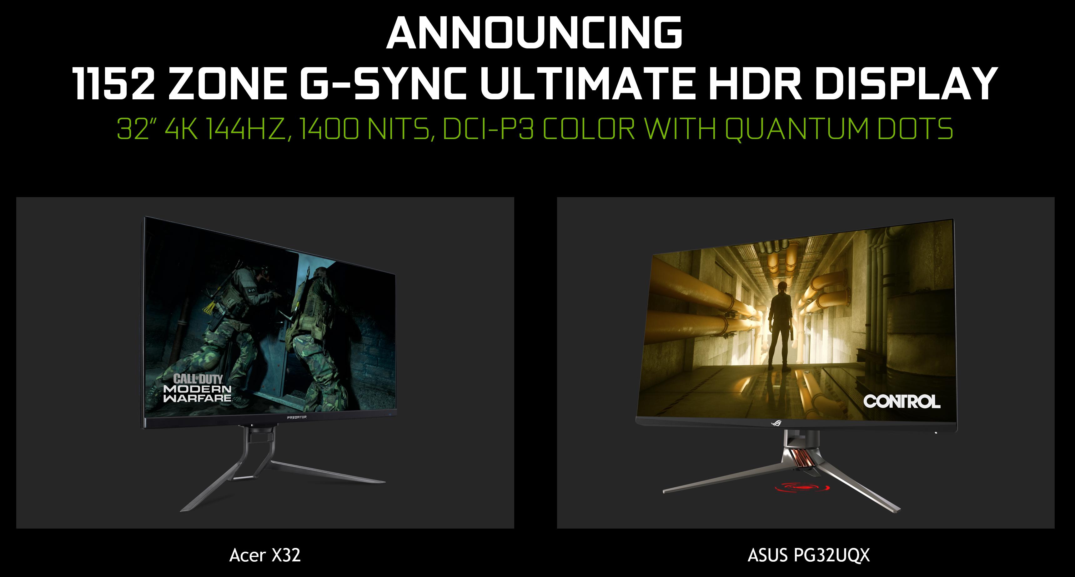 Acer X32 Mini-LED G-SYNC Ultimate and ASUS PH32UQX monitors