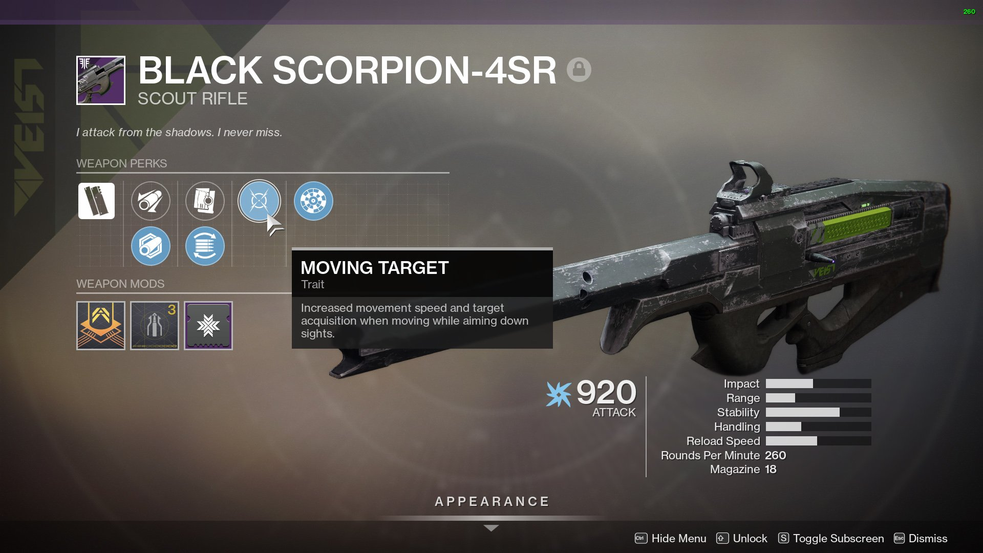 Destiny 2 Black Scorpion 4sr Scout Rifle