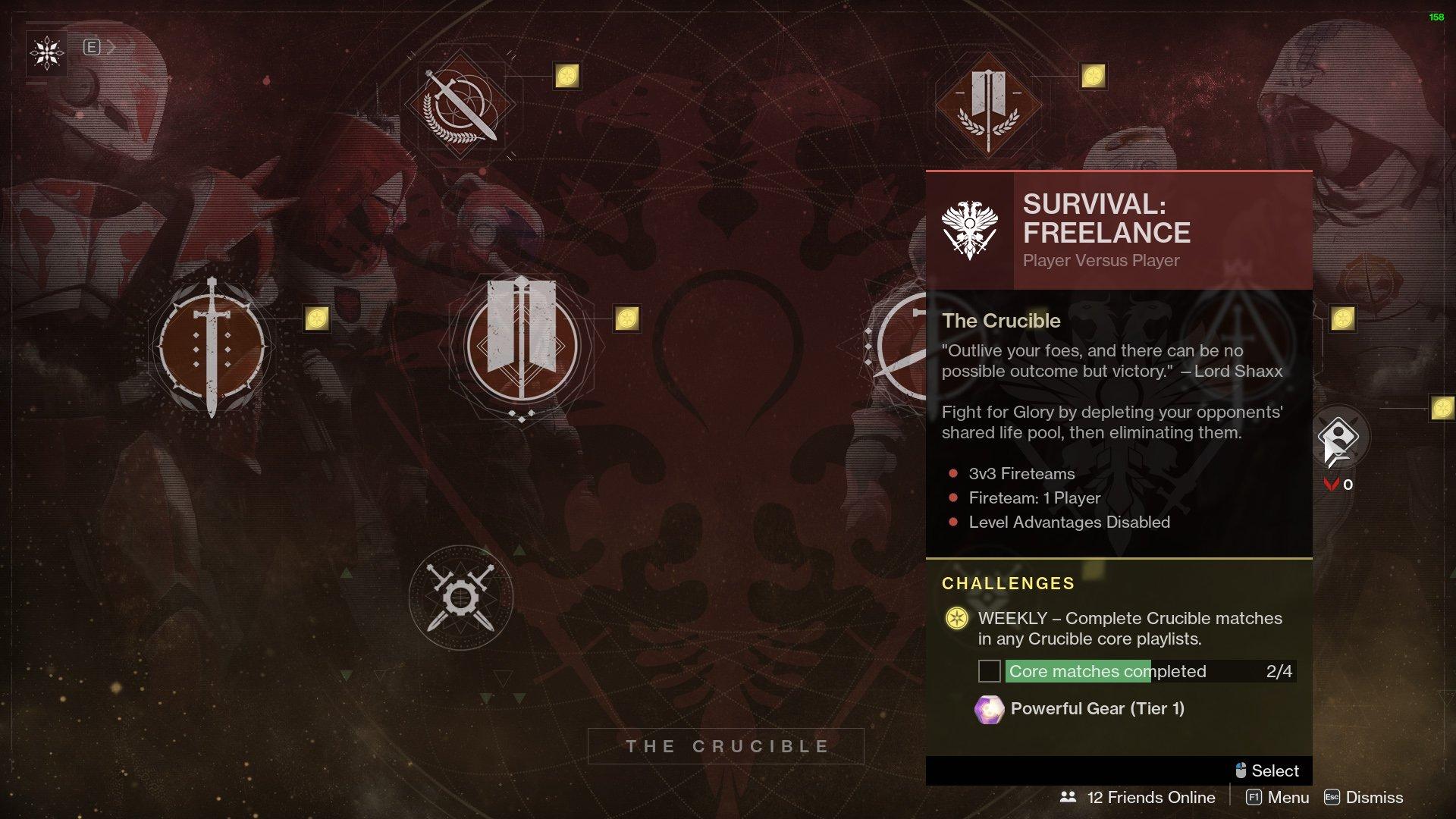 destiny 2 survival freelance