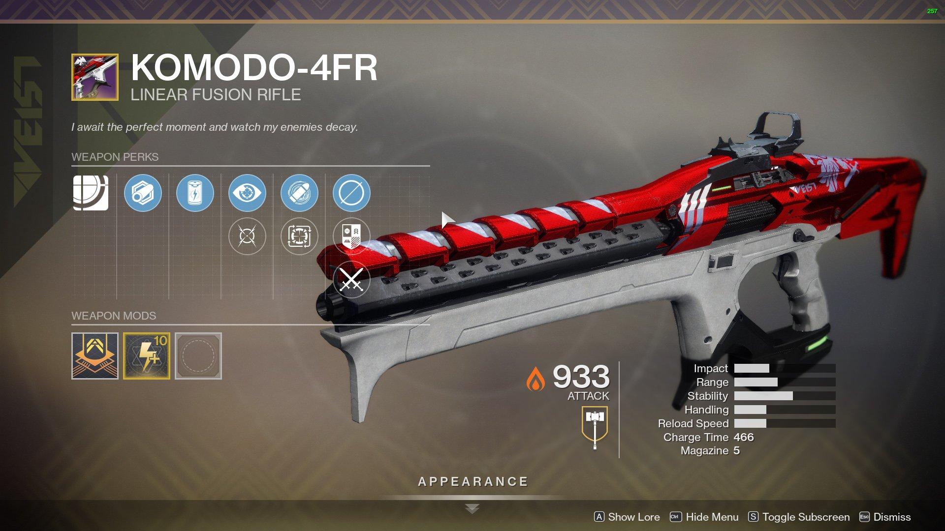 Destiny 2 Komodo-4FR perks