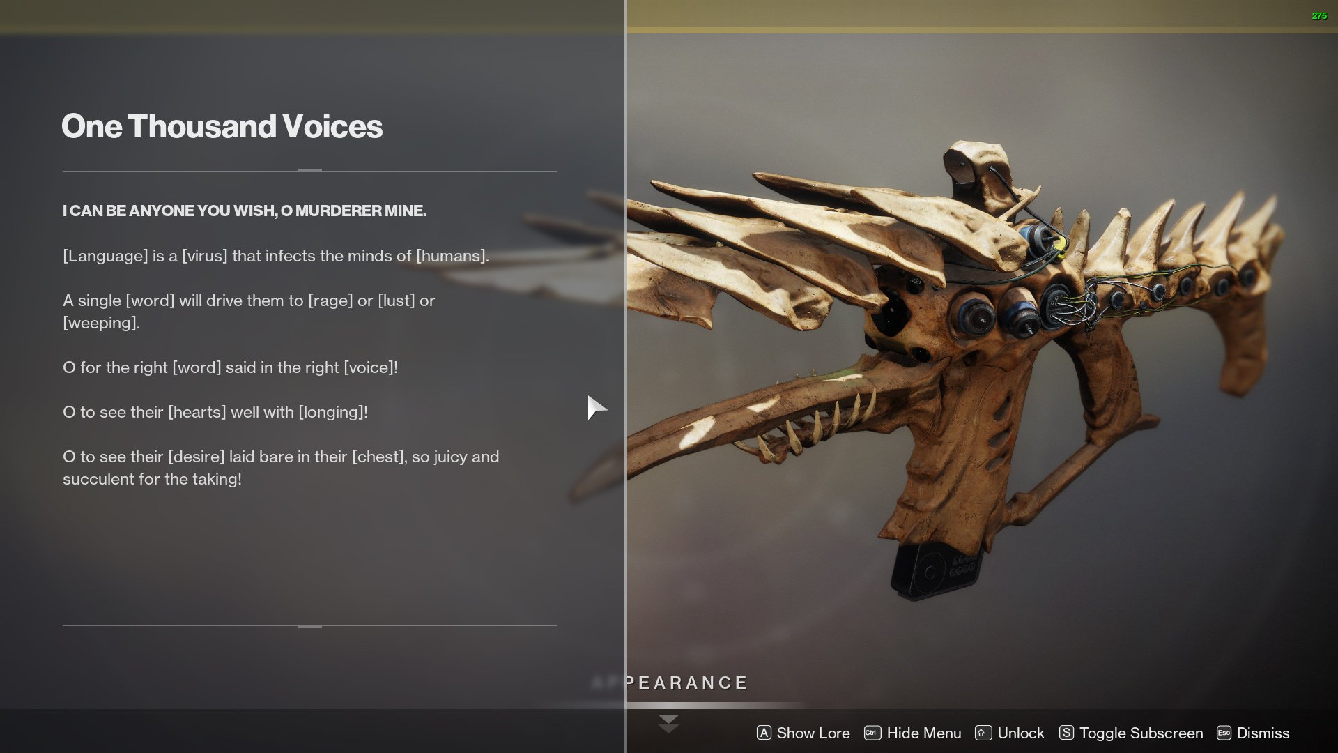 Destiny 2 One Thousand Voices lore