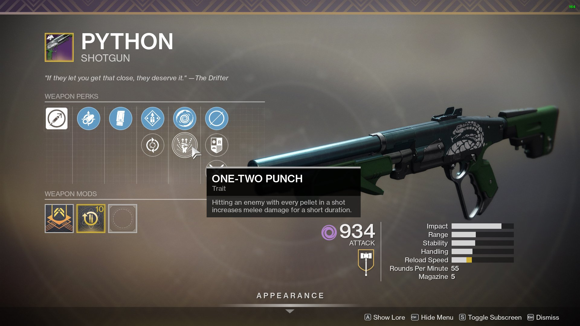destiny 2 python perks