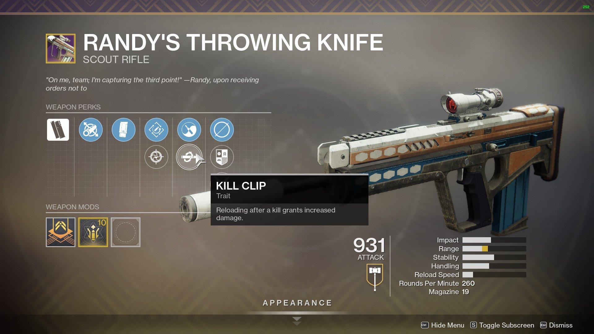 destiny 2 randys throwing knife perks